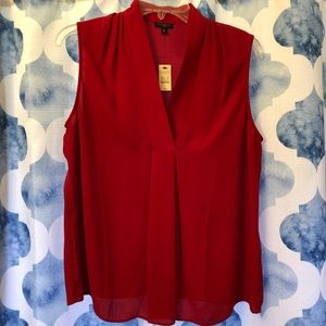 NWT Talbots red sleeveless blouse size Med petite
